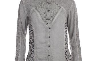 Dámská šedá košile se vzorem a perforací Angels Never Die