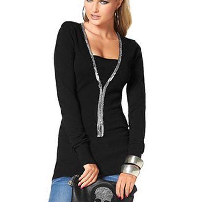 Krásný dámský svetr s hlubokým výstřihem s flitry