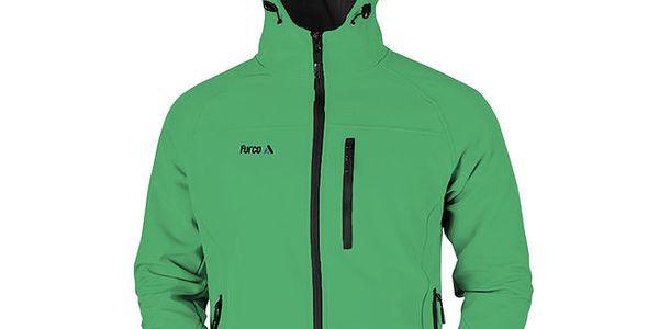 Pánská zelená softshellová bunda s kapucí Furco