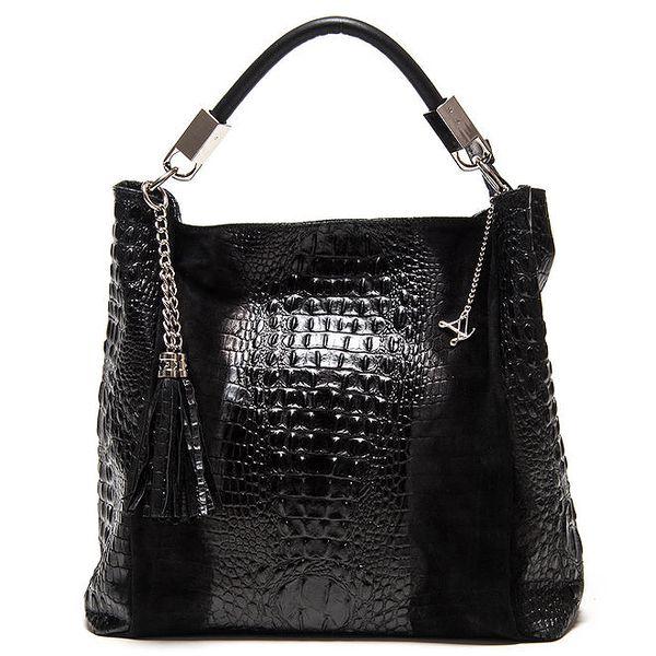Dámská černá kožená kabelka s motivem krokodýlí kůže Luisa Vannini