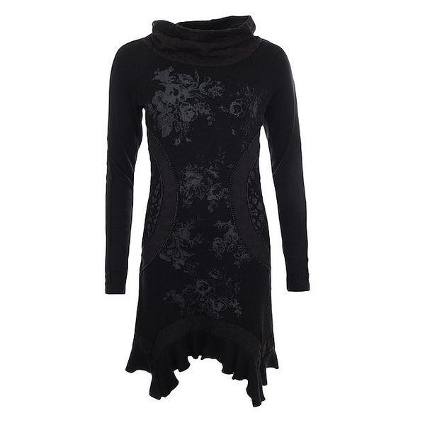 Dámské černé šaty s květinovým vzorem a krajkou na bocích Angels Never Die