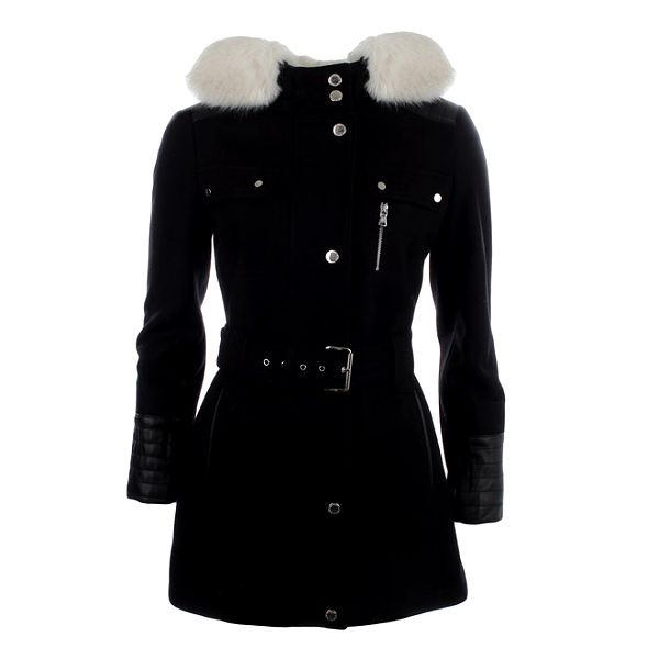 Dámský černý kabát s kapucí a bílým kožíškem Halifax
