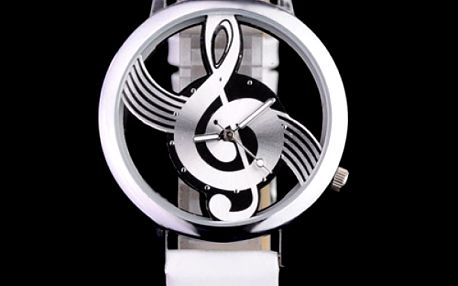 Analogové hodinky - ciferník houslový klíč - dodání do 2 dnů