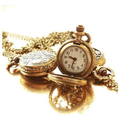 Vintage hodinky na řetízku s motýlím motivem - dodání do 2 dnů