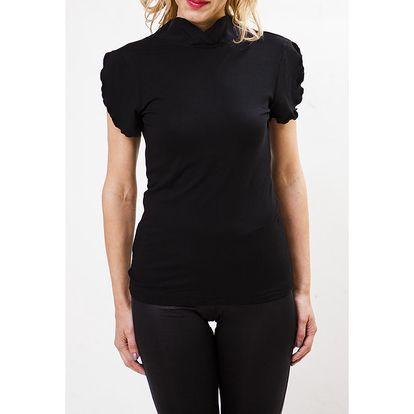 Dámské černé tričko s volánky Mera