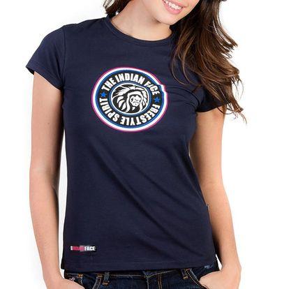 Dámské tmavě modré tričko Indian Face s potiskem