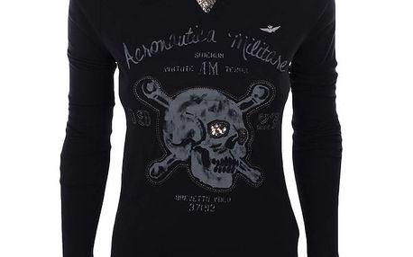 Dámské černé tričko s dlouhým rukávem a lebkou Aeronautica Militare