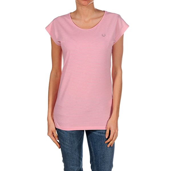 Dámské růžově proužkované tričko Fred Perry