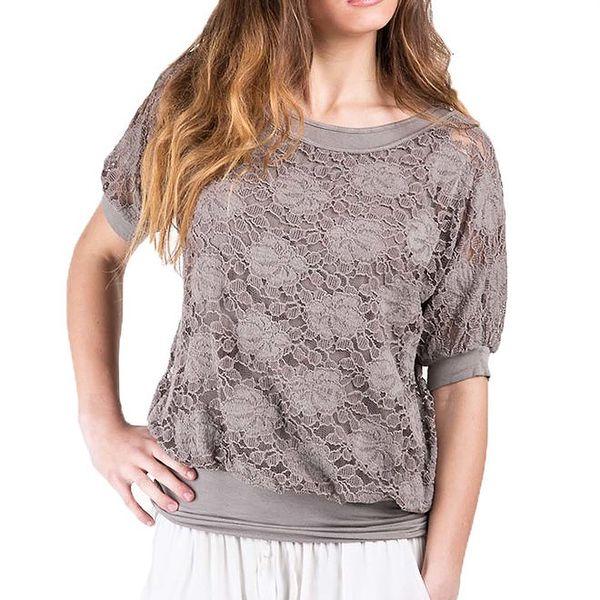 Dámské krajkové tričko v odstínu hnědé barvy Keysha