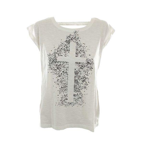 Dámské bílé tričko s křížem Fuga