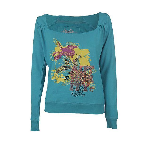 Dámské tyrkysové tričko s lodičkovým výstřihem Authority