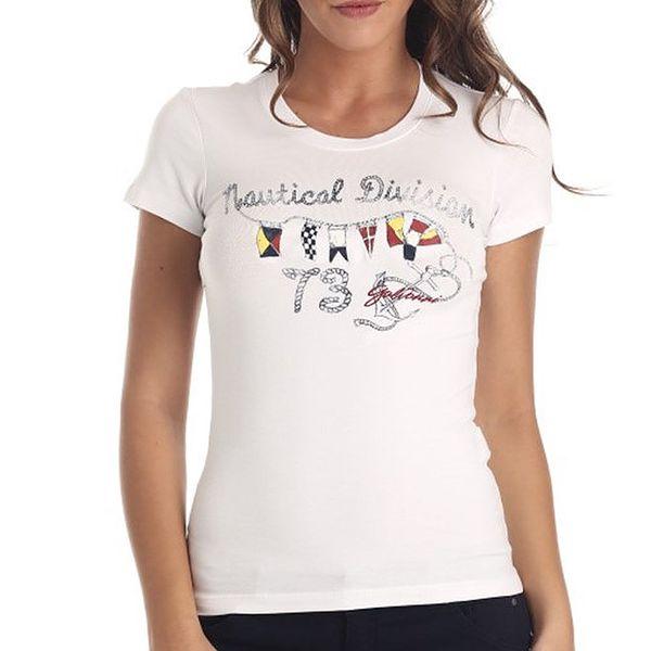 Dámské bílé tričko s potiskem Galvanni