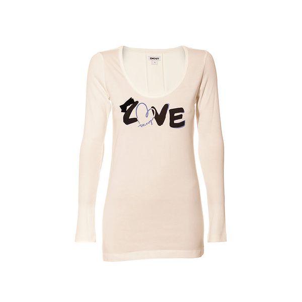 Tričko s dlouhým rukávem značky DKNY ve smetanové barvě