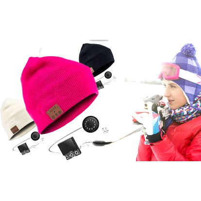 Bluetooth čepice s vestavěnými sluchátky a mikrofonem