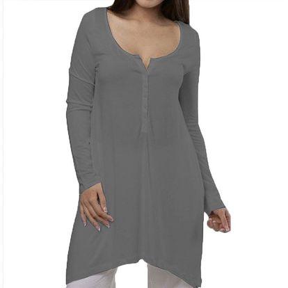 Dámská šedá noční košile s knoflíčky YU Feelwear