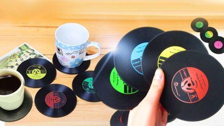 Retro vinylové podtácky - 6 ks! Miniatury klasických vinylových desek nadchnou každou návštěvu!