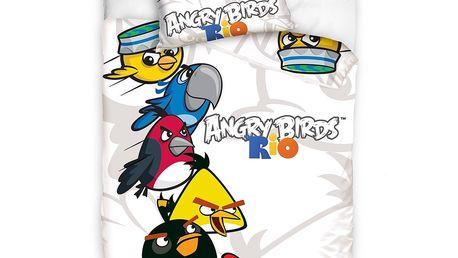 Bavlněné povlečení Angry Birds Rio white, 140 x 200 cm, 70 x 80 cm