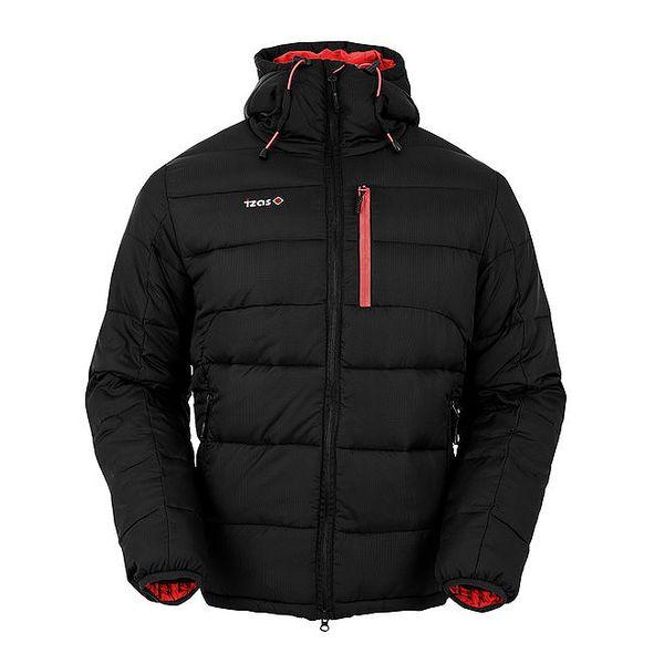 Pánská černá péřová bunda s červenými prvky Izas