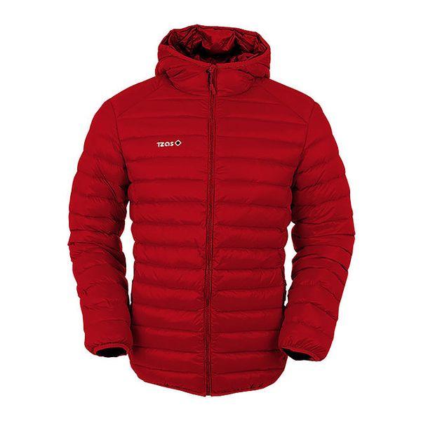 Pánská červená péřová bunda s kapucí Izas