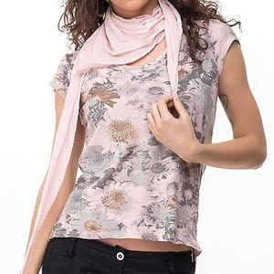 Dámské růžové tričko s potiskem a šátkem Sixie