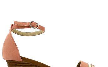 Dámské růžové sandálky na klínku s kamínky Shoes and the City