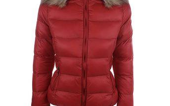Dámská červená prošívaná bunda s kapucí B.style