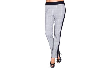 Dámské šedé kalhoty s černým pruhem Sixie