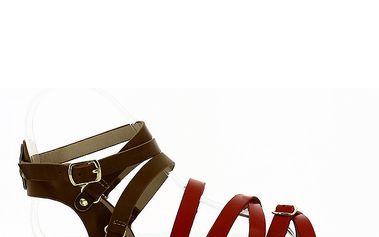 Dámské hnědo-červené sandálky Shoes and the City
