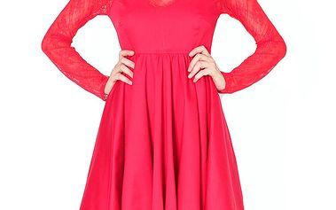 Dámské červené šaty s krajkou Santa Barbara