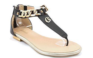 Dámské černé sandálky s řetízkem Balada