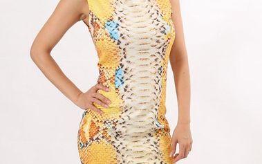 Dámské žluté šaty s potiskem hadí kůže Santa Barbara
