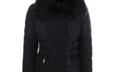 Dámská černá bunda s velkým límcem B.style