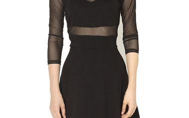 Dámské černé šaty s průhlednými rukávy Santa Barbara