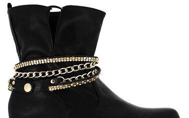 Dámské černé kotníčkové boty se zlatým řetízkem Shoes and the City