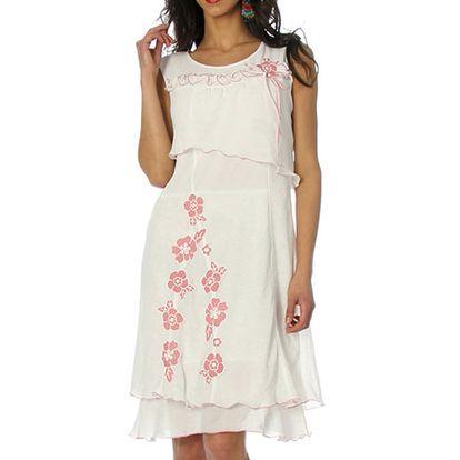 Dámské bílé šaty s růžovými květy Squise