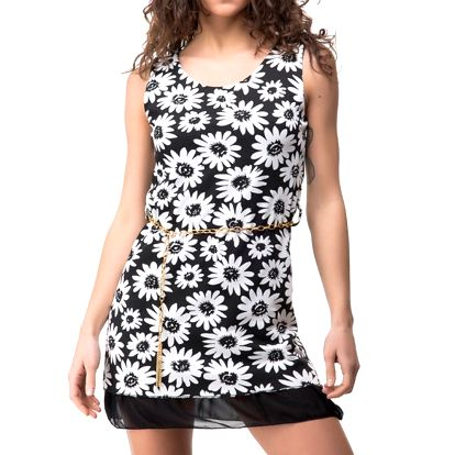 Dámské černé šaty s bílými květy Sixie