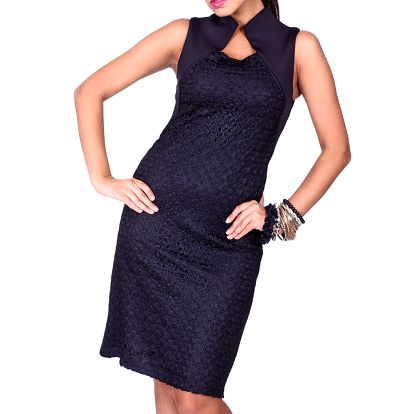 Dámské černé šaty s límečkem Nelita
