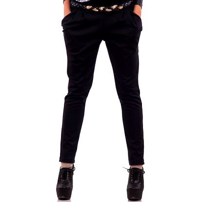 Dámské černé kalhoty s kapsami Nelita