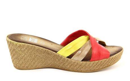 Dámské kožené červeno-žluté nazouvací sandálky Julie Julie