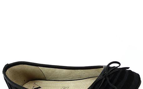 Dámské chlupaté černé pruhované balerínky Shoes and the City