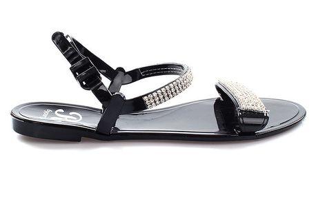 Dámské černé sandálky se třpytkami So Real