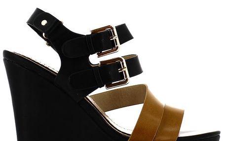 Dámské černo-hnědé sandálky na klínku Shoes and the City