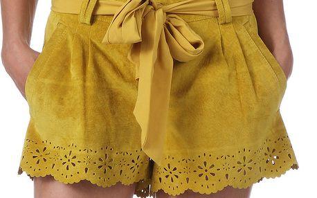 Dámské kožené žluté šortky s perforací My Little Poesy