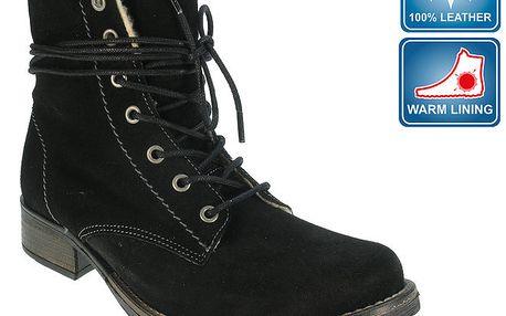 Dámské černé šněrovací boty s hřejivou podšívkou Beppi
