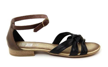 Dámské hnědo-černé kožené sandálky Julie Julie