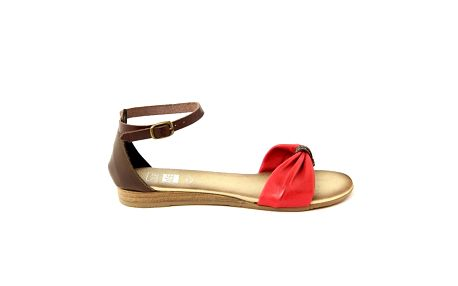 Dámské červeno-hnědé kožené sandálky Julie Julie