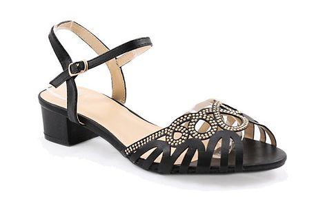 Dámské černé sandálky se zlatými kolečky Balada