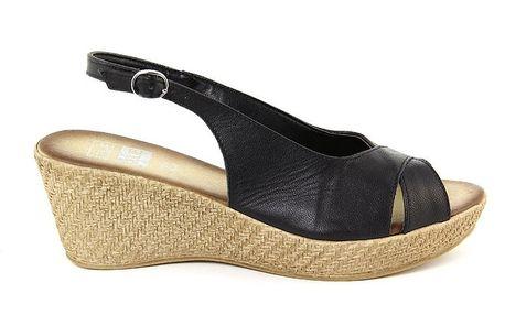 Dámské kožené černé sandálky s otevřenou špičkou Julie Julie