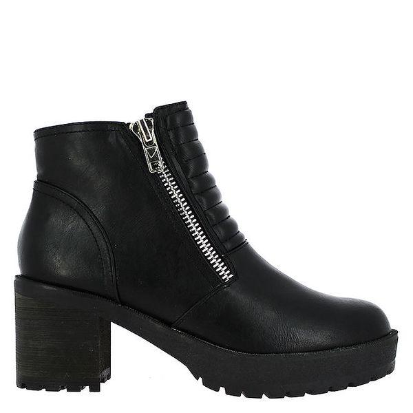 Dámské černé prošívané kotníkové boty Shoes and the City
