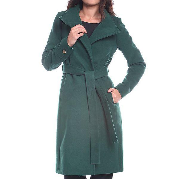 Dámský tmavě zelený kabát s páskem Vera Ravenna